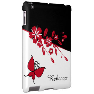 Stylish Modern Black White Red Butterfly Floral