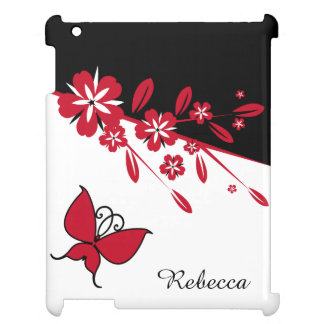 Stylish Modern Black White Red Butterfly Floral Cover For The iPad