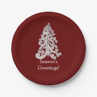 Stylish Modern Christmas Tree Doodle 7 Inch Paper Plate