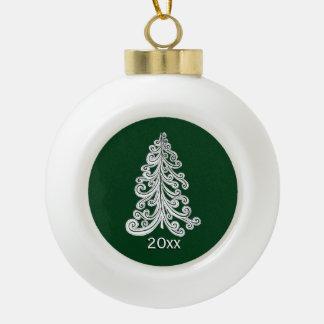 Stylish Modern Christmas Tree Doodle Ceramic Ball Decoration