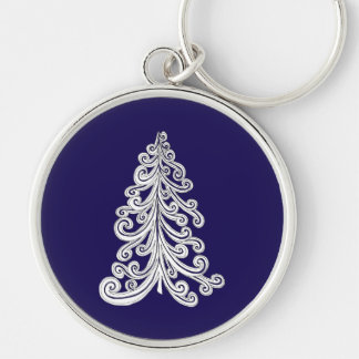Stylish Modern Christmas Tree Doodle Silver-Colored Round Key Ring