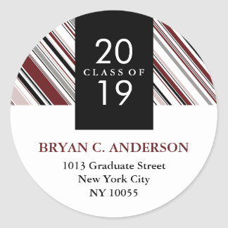 Stylish Modern Diagonal Pin Stripes Graduation Classic Round Sticker