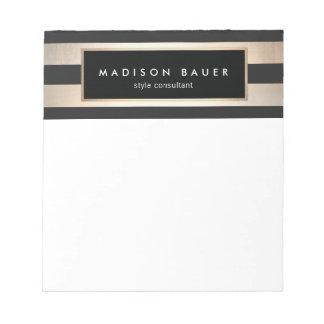 Stylish Modern Elegant Striped Black and Gold Notepad