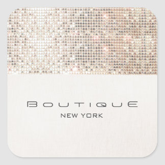 Stylish Modern FAUX Silver Sequins Square Sticker