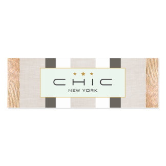 Stylish Modern Gold and Faux Linen Striped Pack Of Skinny Business Cards