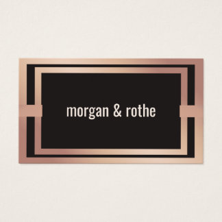 Stylish Modern Luxe Rose Gold Brown Business Card