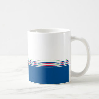 Stylish modern minimal dark blue stripes pattern … basic white mug