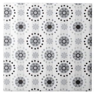 Stylish modern monochrome floral pattern large square tile
