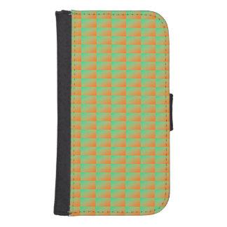 Stylish modern orange and green pattern samsung s4 wallet case
