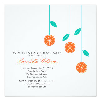 Stylish Modern Oranges Birthday Party Invitation