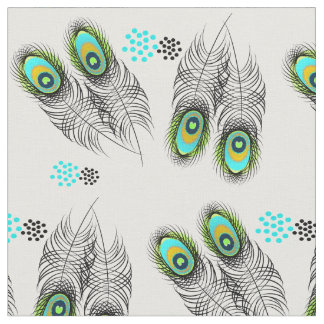 Stylish Modern Peacock Feathers and Spots Pattern Fabric
