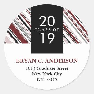 Stylish Modern Pin Stripes Graduation Stickers