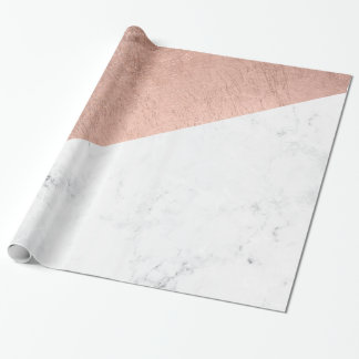 Stylish modern rose gold white marble color block