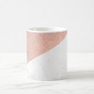 Stylish modern rose gold white marble color block basic white mug
