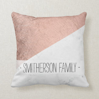 Stylish modern rose gold white marble color block cushions