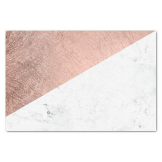 Stylish modern rose gold white marble color block tissue paper