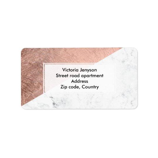 Stylish modern rose gold white marble colour block label