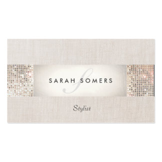 Stylish Modern Silver Sequin Monogram Beauty Pack Of Standard Business Cards