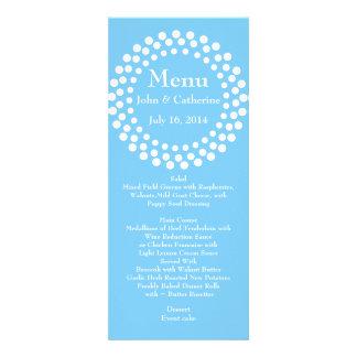 Stylish Modern Sky Blue Wedding Table Menu Invite