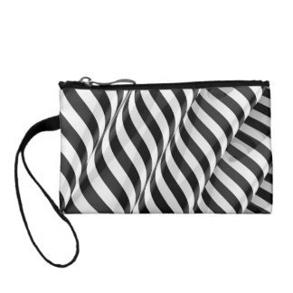 Stylish modern striped 3d ripple design coin purse