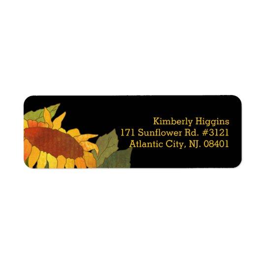 Stylish Modern Sunflower Black Address Return Address Label