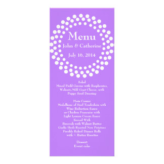 Stylish Modern Violet Wedding Table Menu Personalized Invite