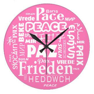 Stylish modern wall clock PEACE multiple language