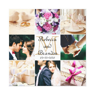Stylish Modern Wedding Monogrammed Photo Collage Canvas Print