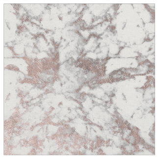 Stylish modern white faux rose gold elegant marble fabric