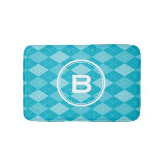 Stylish monogram aqua blue argyle pattern bath mat