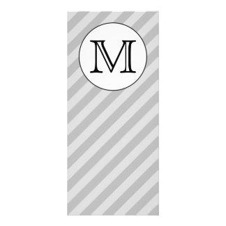 Stylish Monogram with Gray Stripes. Custom. Personalized Rack Card