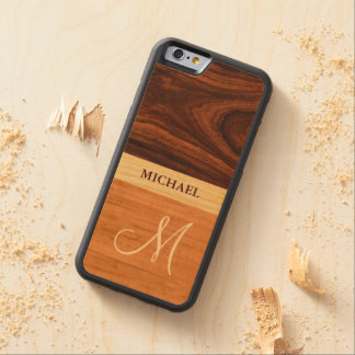 Stylish Monogrammed - Wood Grain Stripes Carved Maple iPhone 6 Bumper Case