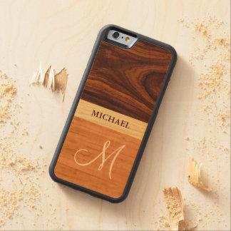Stylish Monogrammed - Wood Grain Stripes Maple iPhone 6 Bumper Case