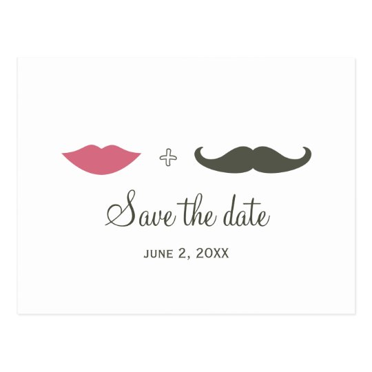 Stylish Moustache and Lips Save the Date Postcard
