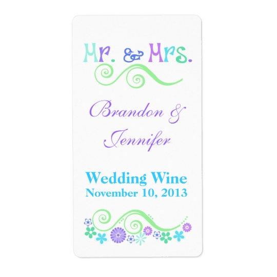 Stylish Mr. & Mrs. Wedding Mini Wine Labels