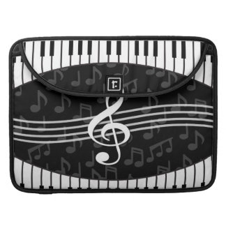 Stylish Music Notes Treble Clef and Piano Keys Sleeve For MacBooks