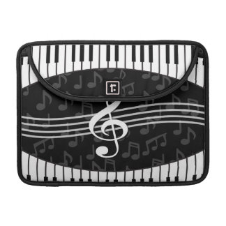 Stylish Music Notes Treble Clef and Piano Keys Sleeves For MacBooks