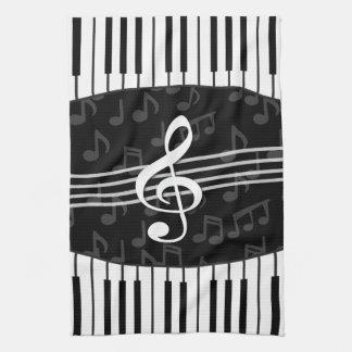 Stylish Music Notes Treble Clef and Piano Keys Tea Towel