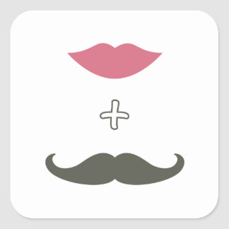 Stylish Mustache and Lips Envelope Seal Square Sticker