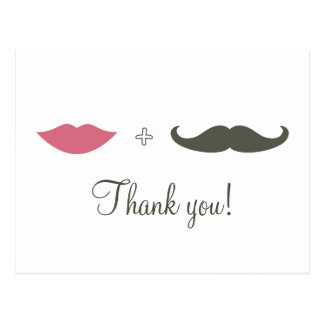 Stylish Mustache and Lips Thank You Postcard