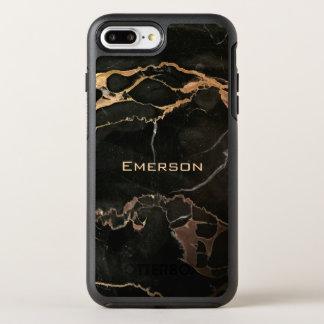 Stylish Name and Black Marble OtterBox Symmetry iPhone 8 Plus/7 Plus Case