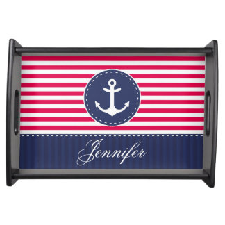 Stylish Nautical Blue Red Anchor Personalized Serving Tray