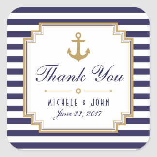 Stylish Nautical Wedding Thank You Favors Stickers