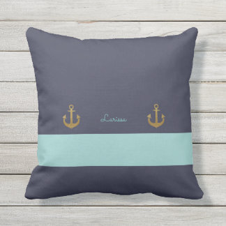 stylish navy blue & personalized nautical throw pillow
