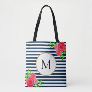Stylish Navy White Striped Coral Floral Monogram Tote Bag