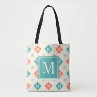 Stylish Nordic Pattern Monogram Initial Tote Bag
