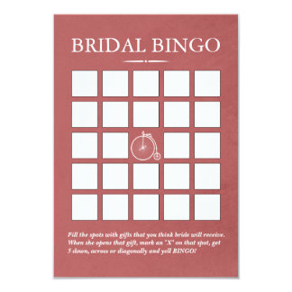 Stylish Old Bike Bridal Shower Bingo Cards 9 Cm X 13 Cm Invitation Card