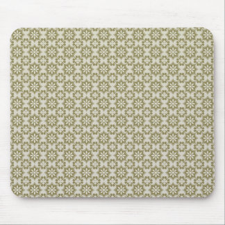 Stylish olive green Fleur de Lis repeating pattern Mouse Pad
