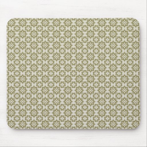 Stylish olive green Fleur de Lis repeating pattern Mouse Pads