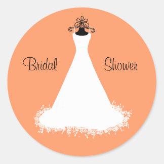 Stylish Orange Bridal Shower Envelope Seal Round Sticker